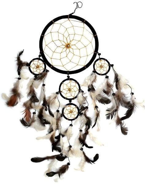 Indianer Traumfänger Dreamcatcher ⌀ 16 cm schwarz/gold