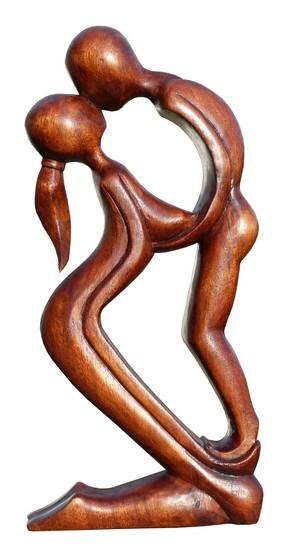 küssendes Paar Liebe Herz Kuß Glück abstrakt Holz Figur