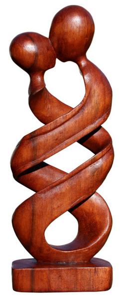 küssendes Paar umschlungen Liebe Herz Kuß Glück abstrakt Holz Figur
