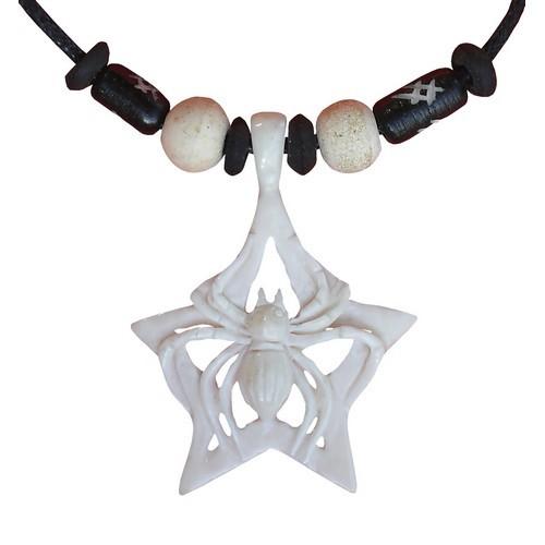 Bonekette Amulett Anhänger Carving Kette Tarantula Spinne Netz