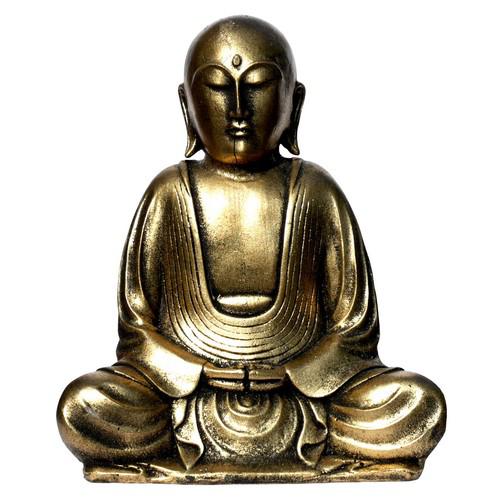 Resinfigur Mönch Buddha gold