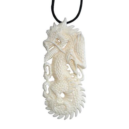 Bonekette Knochen Amulett Anhänger Kette Drachen groß