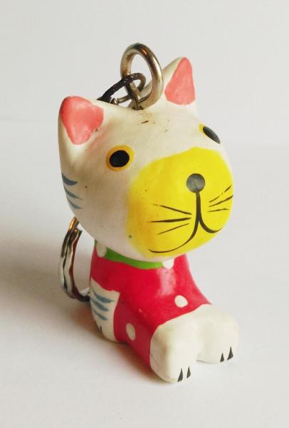 5er-Set Holz-Schlüsselanhänger Katze