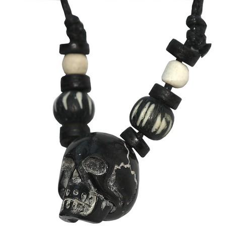 Hornkette Amulett Carving Anhänger Kette Schädel schwarz