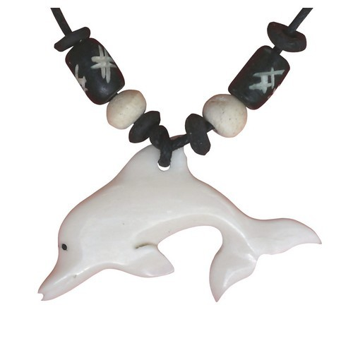 Bonekette Amulett Anhänger Kette Dephin Fisch Delfin