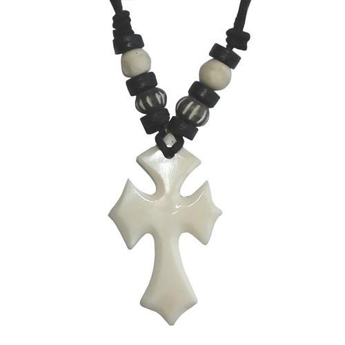 Bonekette Knochen Amulett Anhänger Kette Kreuz