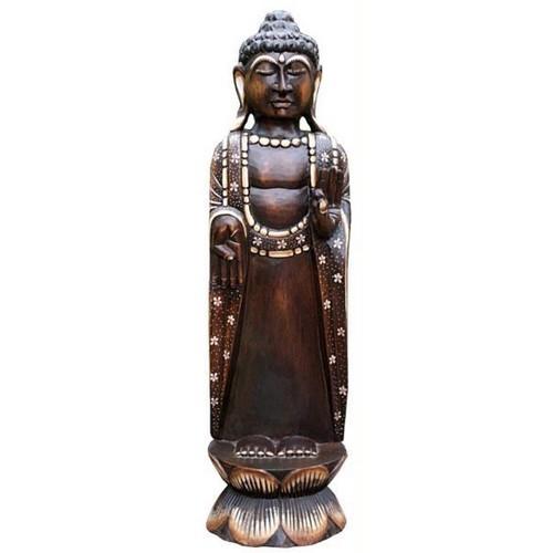 Buddha Meditation schw/weiss mit Blumen 75 cm lang