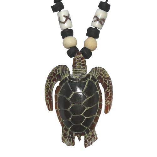 Hornkette Amulett Carving Anhänger Kette Schildkröte Turtles gross schwarz