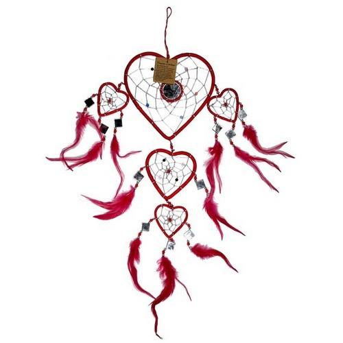 TF40 Traumfänger rot Herzform mit Spiegel