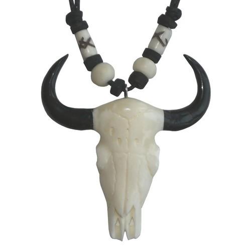 Bonekette Knochen Amulett Anhänger Kette Hörner Büffelschädel