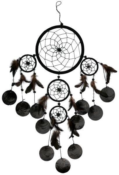 Indianer Traumfänger Dreamcatcher ⌀ 16 cm schwarz mit Capisscheiben