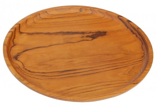 30cm Holz-Schale flach rund Teakholz