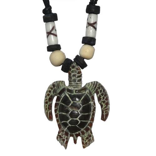 Hornkette Amulett Carving Anhänger Kette Schildkröte Turtles schwarz