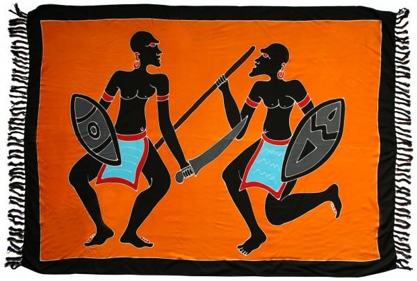 "Sarong ""orange Afrika Krieger"" blickdicht"