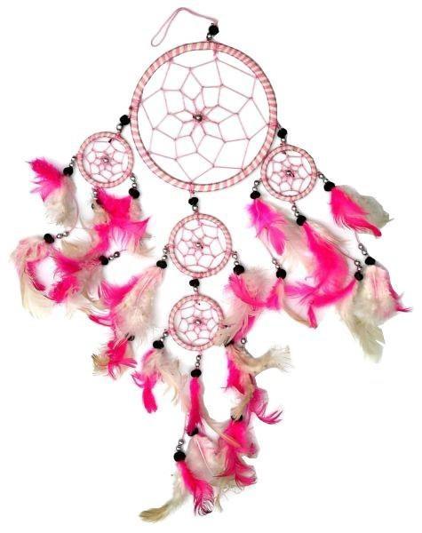 Indianer Traumfänger Dreamcatcher ⌀ 11 cm pink / weiss