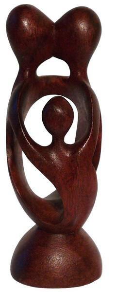 Familie Liebe Herz Kuß Glück abstrakt Holz Figur