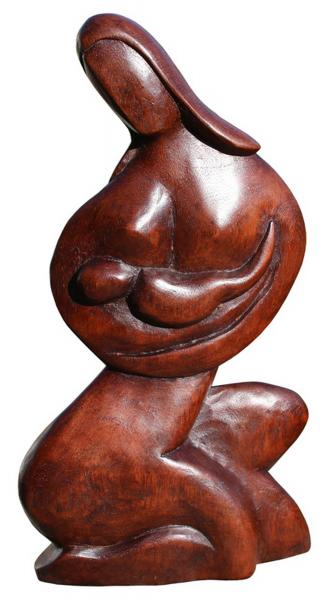 Mutter mit Kind Maria Glück abstrakt Holz Figur