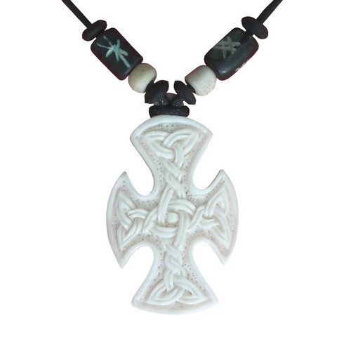 Bonekette Knochen Carving Amulett Anhänger Kette Kreuz