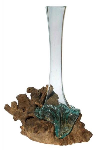 Glas-Vase auf Wurzelholz 35cm B-WARE