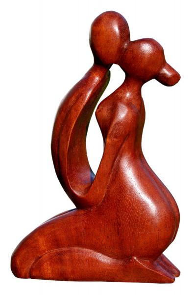 A20.09 Paar küssend abstrakt Holz Figur