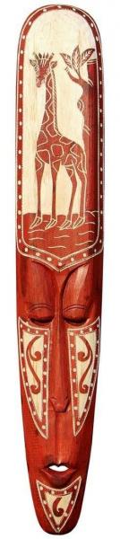 Maske91 100cm Maori Giraffe Maske rot