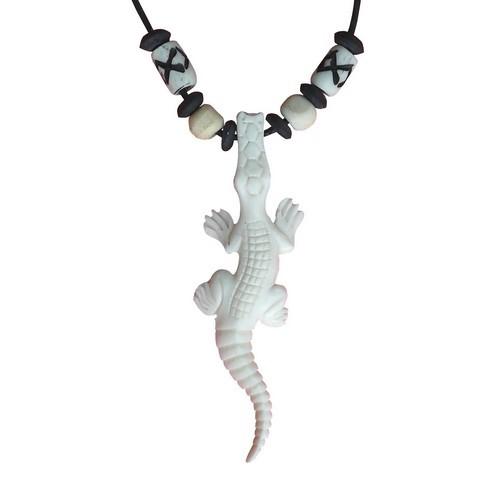 Bonekette Knochen Amulett Anhänger Kette Gecko Eidechse