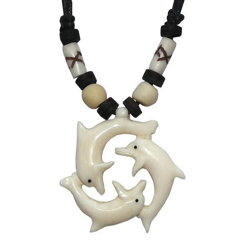 Bonekette Amulett Anhänger Kette Dephine Fische Delfine