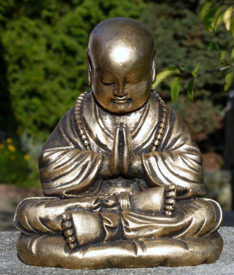 Resinfigur Mönch Gebet gold