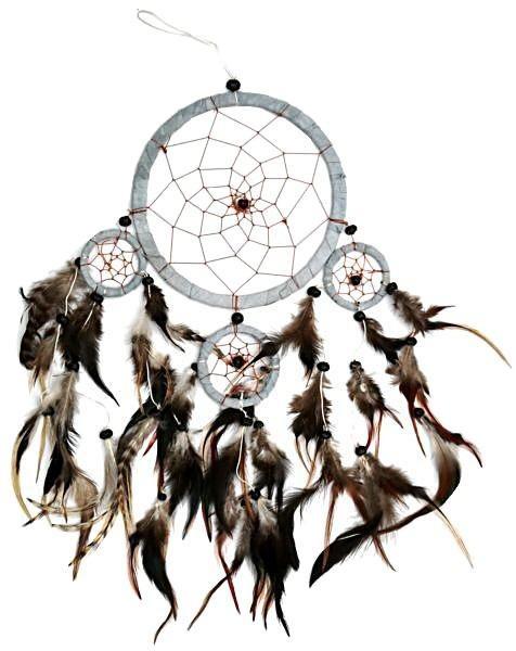 Indianer Traumfänger Dreamcatcher ⌀ 16 cm grau/braun Leder