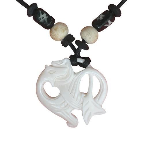 Bonekette Knochen Amulett Anhänger Kette Drachen rund