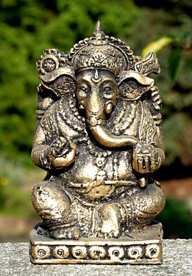 Resinfigur Ganesha Elefantengott gold