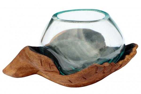 Ø Glas 10 cm auf Wurzelholz Hand
