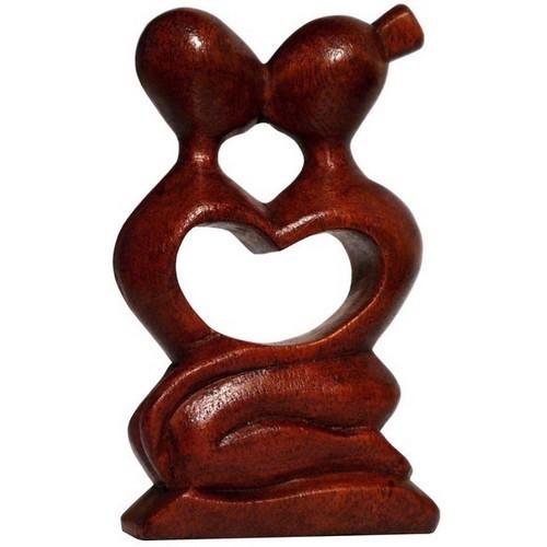 Abstrakt Liebe Herz Kuß Paar Glück abstrakt Holz Figur