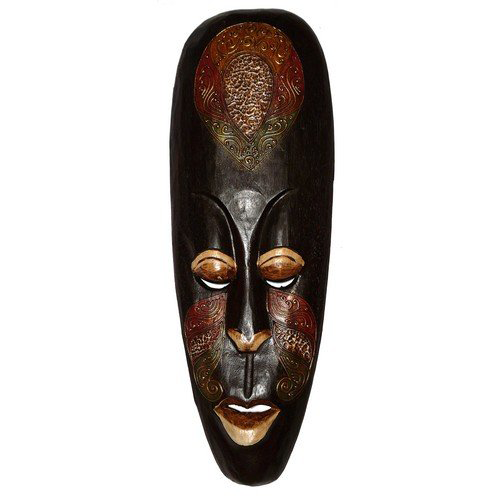 Maske28 50cm Maori Maske schwarz